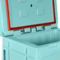 Articulaon caisse/couvercle venant du moulage, ouverture à 105°.