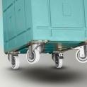 Abnehmbar Rollsockel mit 4 Räder Ø 100 mm: 2 Fest, 2 Drehbare