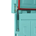 Ouverture du couvercle assistée par compas à gaz avec blocage à 80°.